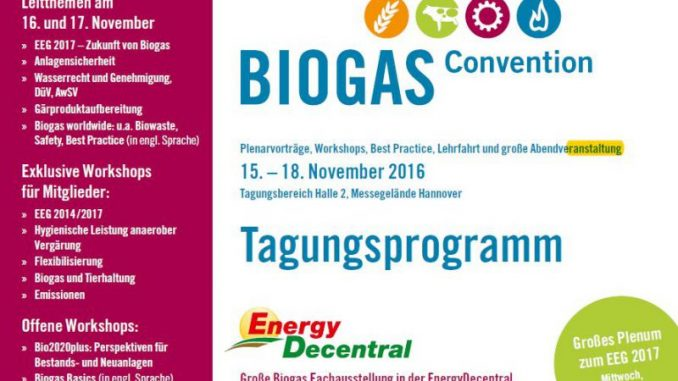 Biogas Convention löst die Jahrestagung ab -