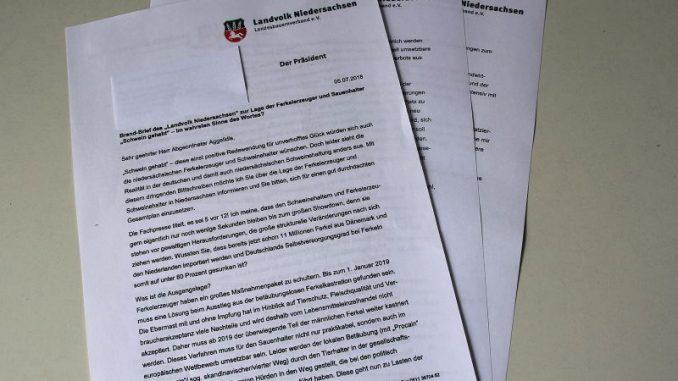 Brand-Brief des Landvolk Niedersachsen zur Lage der Ferkelerzeuger und Sauenhalter -