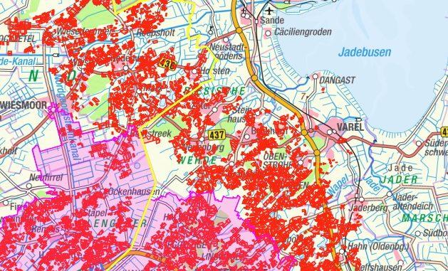 Karte Rote Gebiete Friesland