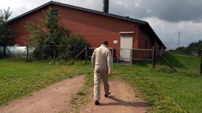 Schweinehalter auf dem Weg in einen Schweinestall